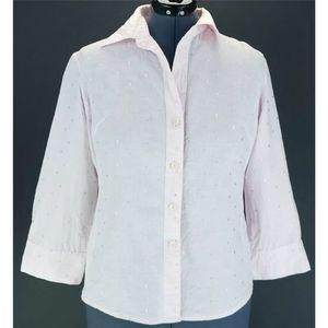 Adrianna Papell XL Linen Blend Button Front Shirt